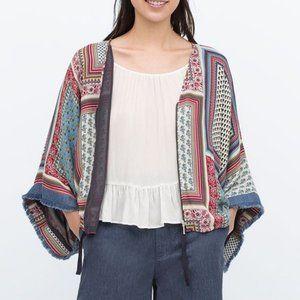 (3/$30) Zara Printed Floral Zip-Up Kimono
